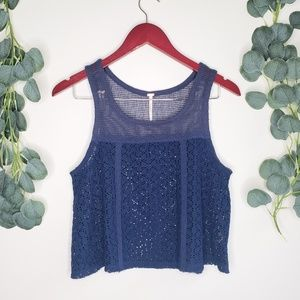 Free People Mesh & Lace Crop Tank | Small | NWOT